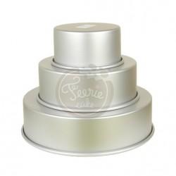 3 moules à gâteaux pour grand wedding cake Féerie Cake 15, 22, 30 x 7,5