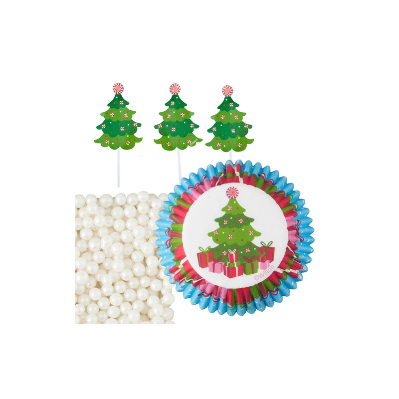 Kit de d coration pour cupcakes sapin de no l - Decoration pour sapin de noel ...