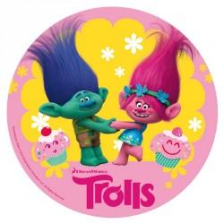 """Disque en sucre 16 cm """"Trolls"""""""
