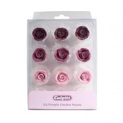 """12 décorations en sucre """"Roses pales"""""""
