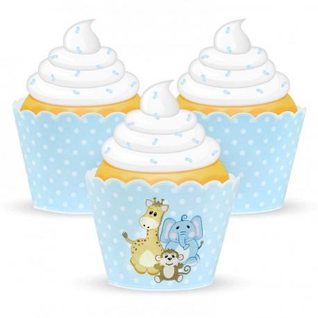 "12 contours à cupcakes bébé ""bleu"""