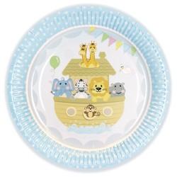 8 assiettes 22,9 cm en carton - bébé bleu