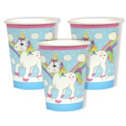 8 gobelets en carton - licorne