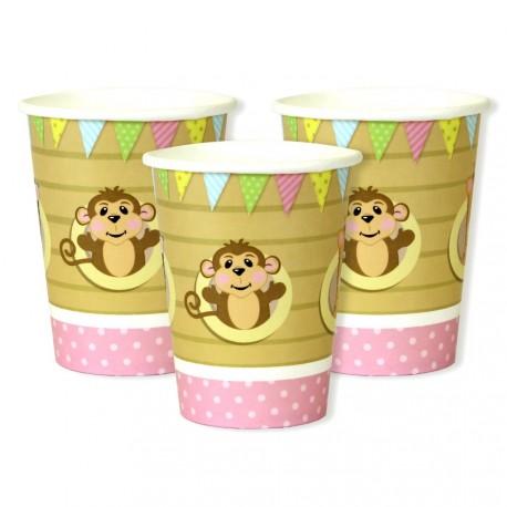 8 gobelets en carton - bébé rose
