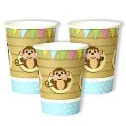 8 gobelets en carton - bébé bleu