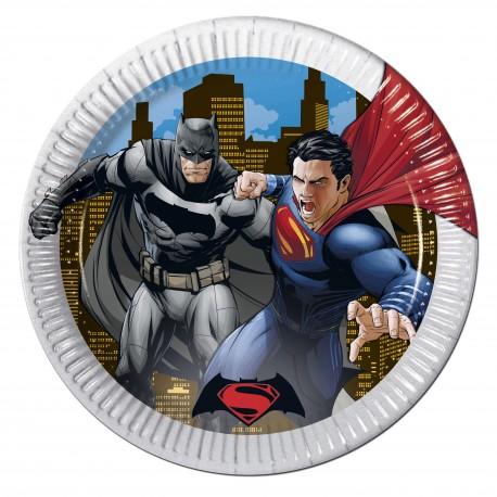 """8 Assiettes en carton """"Batman vs Superman"""""""
