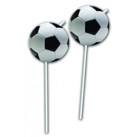 "6 pailles flexibles ""Ballon de foot"""