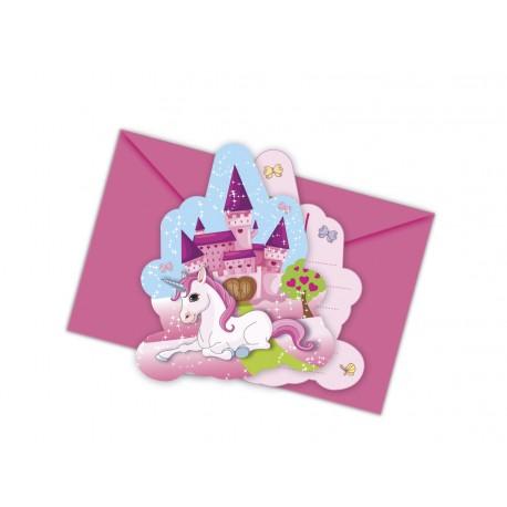 "6 Cartes d'invitation et enveloppes ""Licorne"""