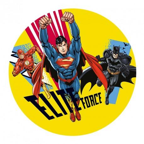 Disque de sucre Superman, Batman et Flash - 20 cm