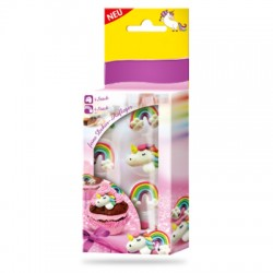 8 décorations en sucre licorne et arc-en-ciel