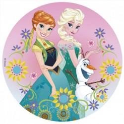 Disque comestible Elsa, Ana et Olaf 20 cm