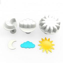 """3 emporte-pièces """"ciel"""" à poussoir, lune, nuage, soleil"""