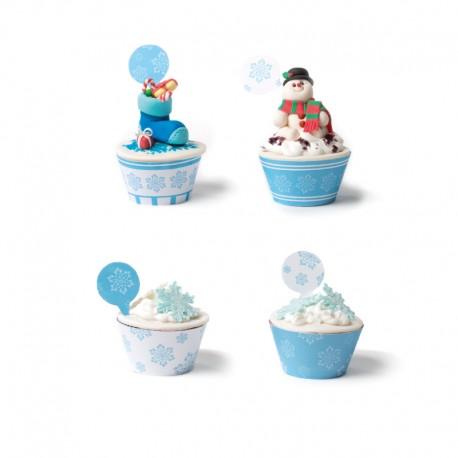 """Kit de 12 contours à cupcakes et toppers """" Flocons glacés"""""""