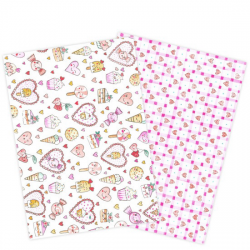 "Lot de 2 feuilles azyme ""Cœurs & sucreries kawaii"""