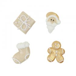 """8 décors en sucre """"Un Noël doré"""""""