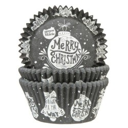 """50 caissettes à cupcakes """"Merry Christmas"""""""