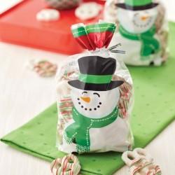 """20 sachets à biscuits et confiseries """"Bonhomme de neige"""""""