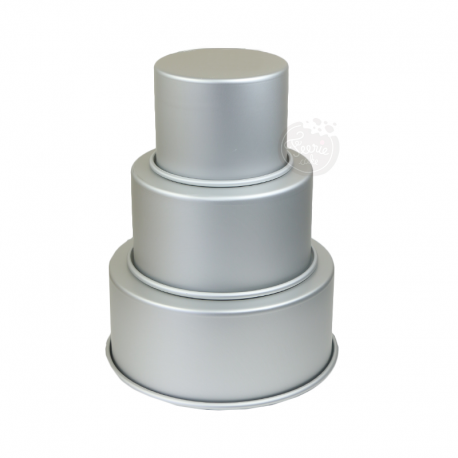 3 moules à gâteaux ronds pour wedding cake - 12,7 - 17,7 - 22,8 x 10,2 cm