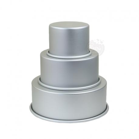 3 moules ronds à gâteaux pour wedding cake - 10,2 - 15,2 - 20,3 x 7,6 cm