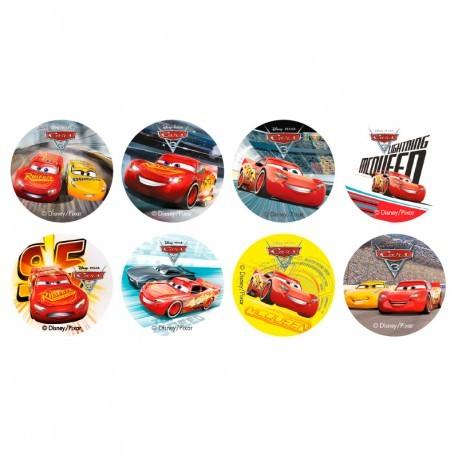 """16 mini disques en sucre """"Cars"""""""