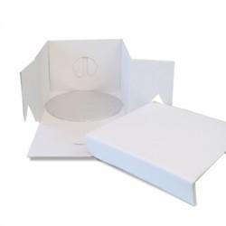Boîte à gâteau blanche avec support rond - 20 x 20 x 15 cm