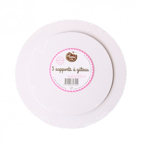 Lot de 5 supports à gâteaux ronds épaisseur 0,5 mm - Différentes tailles
