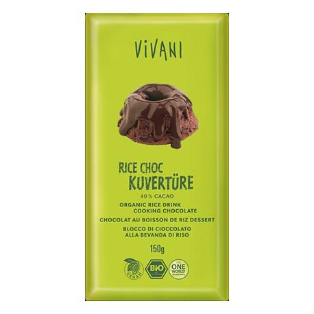 Chocolat de couverture au boisson de riz BIO - 150 g