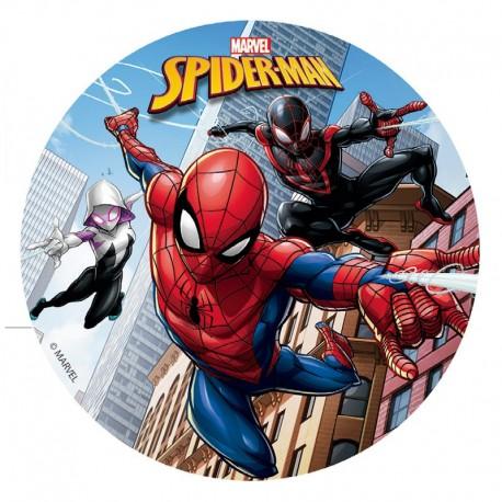 Disque de pâte à sucre gâteau Spiderman 16cm