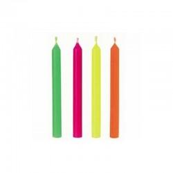 """24 bougies d'anniversaire """"couleurs flashy"""" - 6 cm"""
