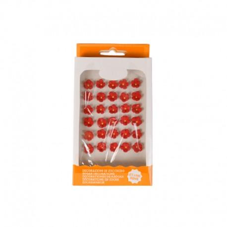 """30 mini décors en sucre """"fleurs rouges"""""""