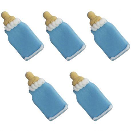 """5 décors en sucre - """"Biberons bleus"""""""