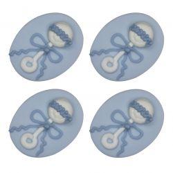 """4 décors en sucre - """"Hochets bleus"""""""