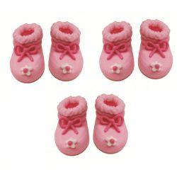 """6 décors en sucre - """"Chaussons de bébé roses"""""""