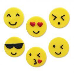 """6 décors en sucre - """"Emojis"""""""