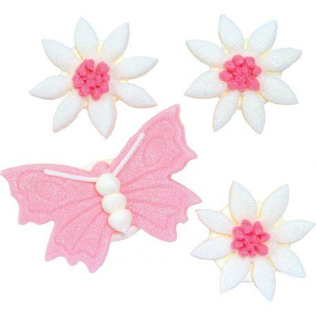"""4 décors en sucre - """"Papillon et fleurs à paillettes"""""""