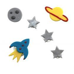 """6 décors en sucre - """"Mission dans l'espace"""""""