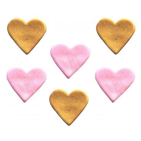 """6 décors en sucre - """"Coeurs roses et dorés"""""""