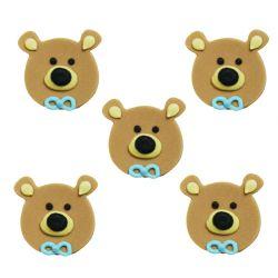 """5 décors en sucre - """"P'tit ours brun au noeud bleu"""""""