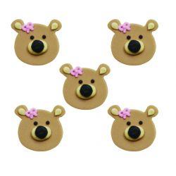 """5 décors en sucre - """"P'tit ours brun au noeud rose"""""""