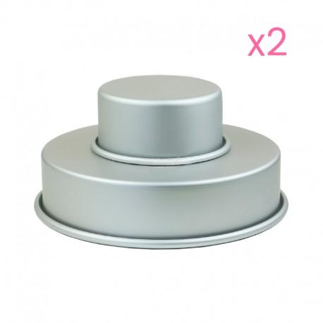4 moules à gâteaux ronds pour wedding cake - 10,2 et 20,3 x 5,1cm (x2)