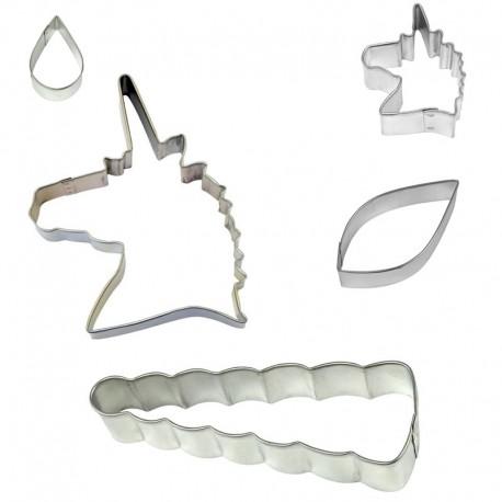 Kit de 5 emporte-pièces licorne