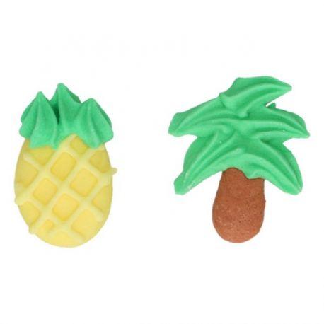 8 décors en sucre - Palmiers et ananas