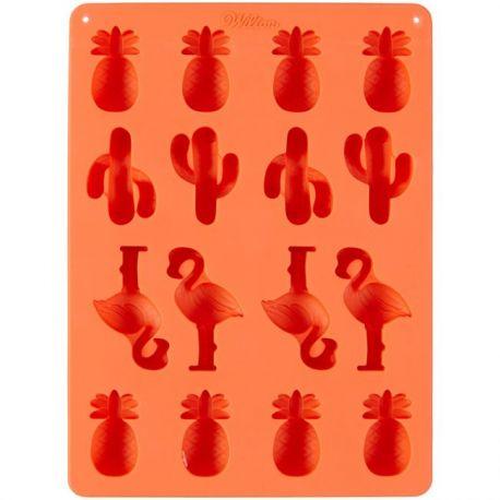 Moule à bonbons en silicone - Ananas, cactus et flamants roses