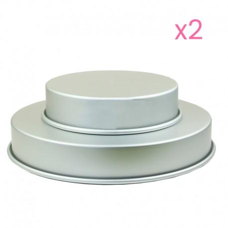 4 moules à gâteaux ronds pour wedding cake - 25,4 et 35,6 x 5,1cm (x2)