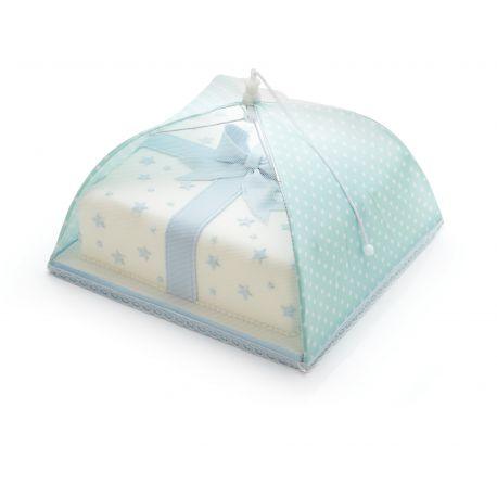 """Cloche à gâteau """"Parapluie vert d'eau à pois blancs"""""""