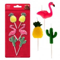 """6 bougies d'anniversaires """"Ananas, cactus et flamants roses"""""""