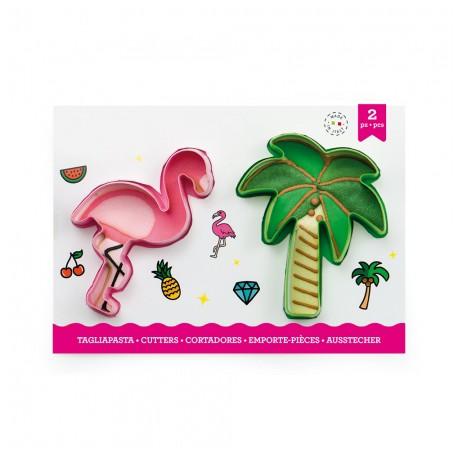 """Lot de 2 emporte-pièces """"Flamant rose et palmier"""""""