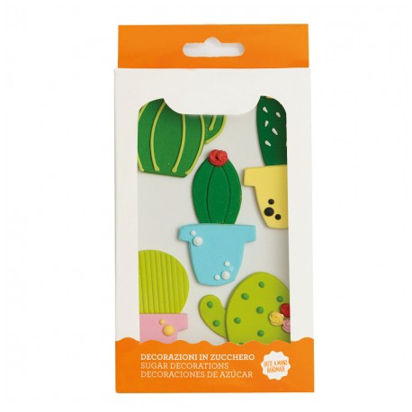 """5 décors en sucre """"Cactus"""""""