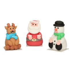 """3 figurines en sucre """"Renne, Père Noël, Bonhomme de neige"""""""