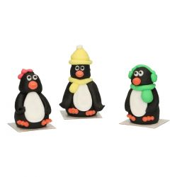 "3 figurines en sucre ""Pingouins"""